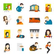 Pop Singer Flat Icons Set - stock illustration