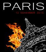 Terrorist attack in Paris Stock Illustration