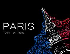 Abstract Eiffel in colors of French flag Stock Illustration
