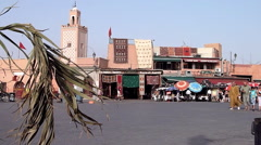 Morocco the market square in Marrakech at the Souk market Stock Footage
