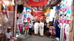 Morocco  a walk through the indoor Souk market in Marrakech Stock Footage