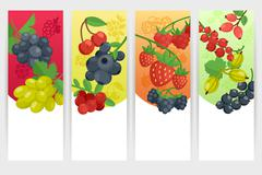 Berries Color Banners Set - stock illustration