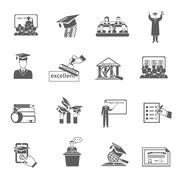 Higher Education Icon Black - stock illustration