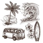 Stock Illustration of Surfing Sketch Icon Set