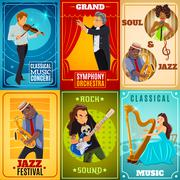 Musicians flat banners composition poster - stock illustration