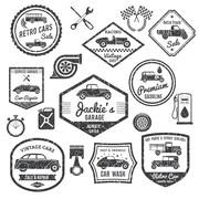 Retro Car Label Black Set Stock Illustration