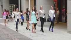 Miss International 2014 contestants walking the streets of Tokyo, Japan Stock Footage