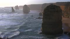 Australia Great Ocean Road 12 Apostles zoomed in - stock footage