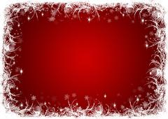 Red Christmas background with white frost - stock photo