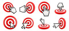 Cursor pointing at target Stock Illustration