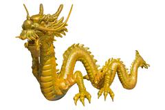 Giant golden Chinese dragon on isolate background Stock Photos