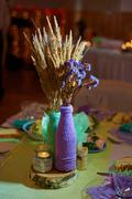 Stock Photo of beautiful wedding decoration on banquet table