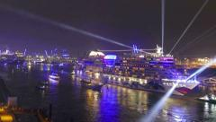 Stock Video Footage of 4K TL Blue Port Cruise Days Port of Hamburg Aida Bella light show