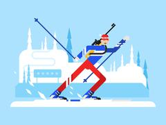 Stock Illustration of Sportsman biathlon character