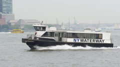 New york ferry taxi riding by the hudson river 4k usa Stock Footage