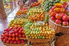 Stock Photo of Market booth with exotic fruits, Funchal, Madeira