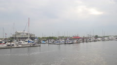 morris canal jersey city boat yacht parking panorama 4k usa - stock footage