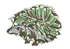 ethnic hedgehog - stock illustration