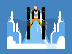 Ski jumping flat - stock illustration