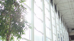 4K Interior view of large modern office building. No people.  - stock footage
