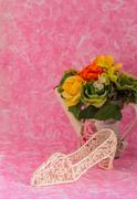 Decorative and a vase of flowers - stock photo
