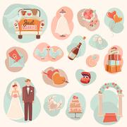 Wedding concept flat icons set Stock Illustration
