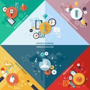Stock Illustration of Strategy Concept Set