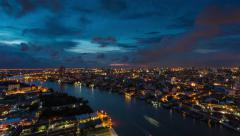 4K Timelapse day to night of Modern building in city with Chaophaya river Stock Footage