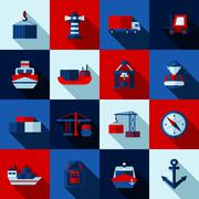 Seaport Color Flat Shadows  Icons  Set Stock Illustration