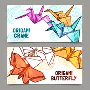 Origami butterflies and cranes banners set Stock Illustration