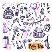 Birthday party doodle pictograms collection arrangement Stock Illustration