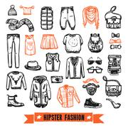Fashion clothes hipster doodle icons set Stock Illustration