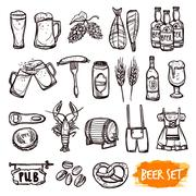 Beer black doodle icons set Stock Illustration
