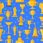 Awards And Cups Seamless Illustration - stock illustration
