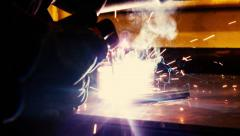 Short clip of metal welding inside of a workshop. Stock Footage