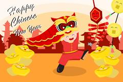 Chinese New Year Greeting Card - stock illustration