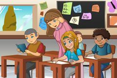 Student and Teacher in the Classroom - stock illustration