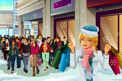 People Shopping for Christmas - stock illustration