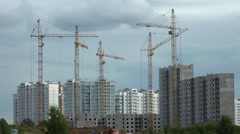 construction houses and cranes - stock footage