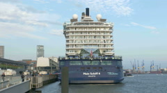 4K UHD Port of Hamburg Cruise My Ship Mein Schiff 4 on Elbe river Dock Stock Footage