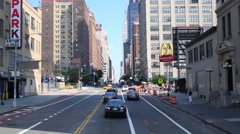 Cars move on street. Population of NYC is 8,4 mln people - stock footage