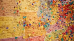 Wall map of United States of America with many pins Stock Footage