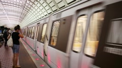 People in underground. Total length of metro Washington - 189.6 km Stock Footage