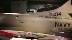 Military aircraft in National Air and Space Museum Stock Footage