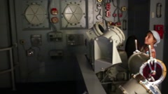 Stock Video Footage of Two children in aircraft carrier simulator in Air and Space Museum