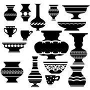Stock Illustration of Set of Vases Silhouettes