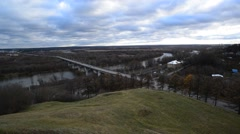 Bridge in Vladimir, Russia. View from the highest point of  city - stock footage