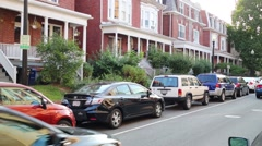 Houses and parked cars in residential district in Washignton. Stock Footage