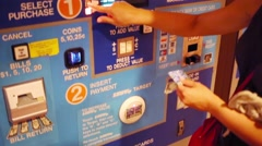 Hands of people and vending machine for subway ticket. Stock Footage