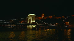 Budapest - Chain Bridge Lit Up At Night. Stock Footage